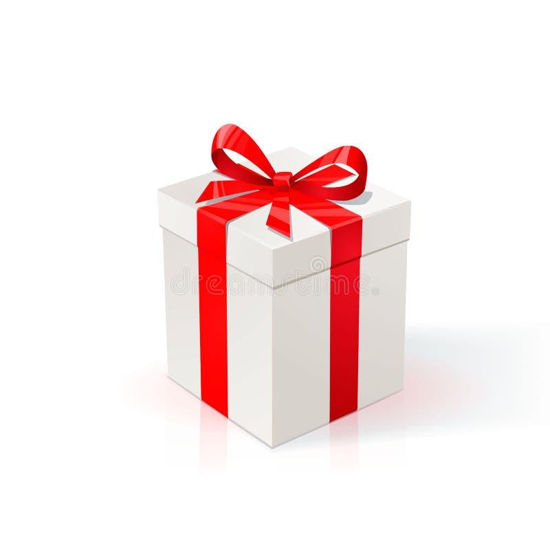 Biały karton z czerwonym faborkiem i łękiem dar pole białe tło Wszystkiego najlepszego z okazji urodzin nowego roku Bożenarodzeni ilustracji