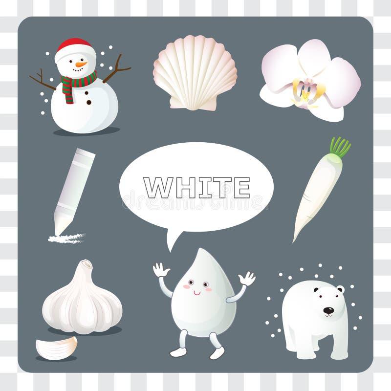 Biały kolor na szarym tle ilustracji