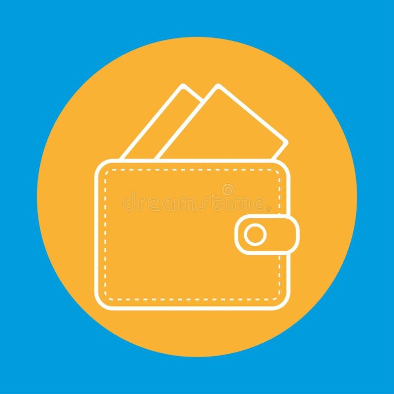 Biały koloru portfla konturu woth banknotów pieniądze wśrodku portfel z pieniądze konturem w pomarańczowym okrąg ikony wek ilustracja wektor