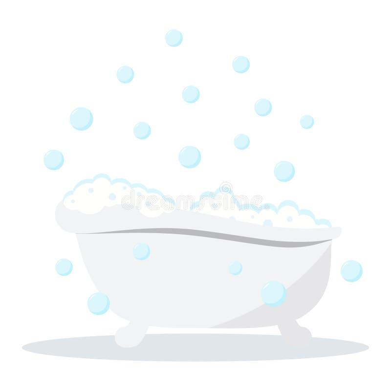 Biały koloru skąpanie z bąblami i lather z cieniami odizolowywającymi na białym tle ilustracja wektor