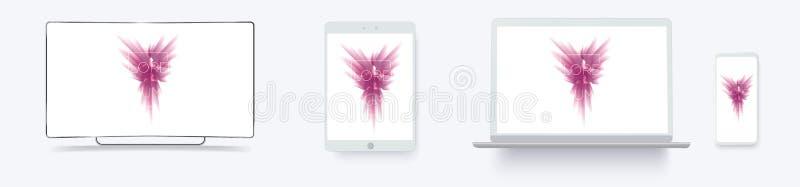 Biały komputeru stacjonarnego pokazu ekranu smartphone przenośnego urządzenia notatnik Konturu mockup elektroniki przyrząda dzwon ilustracja wektor