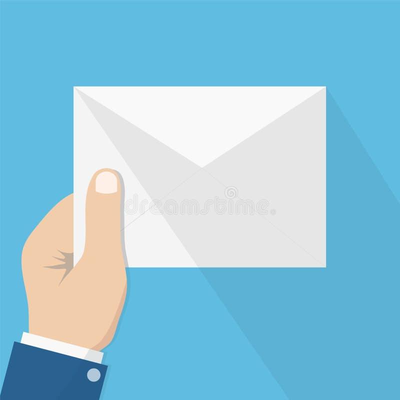 Biały koperta list z cieniem w mężczyzna ręce, pojęcie incomi ilustracji