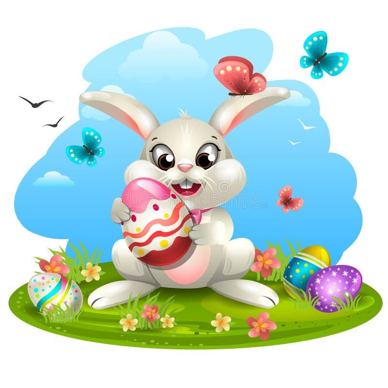 Biały królik z jajkami ilustracja wektor