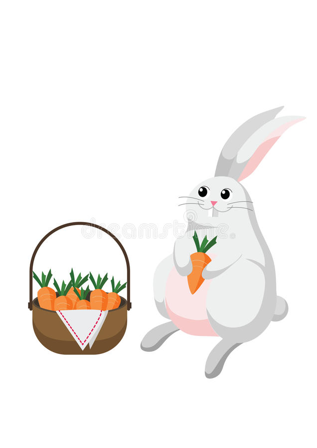 Biały królika królik z koszykowy pełnym marchewki royalty ilustracja
