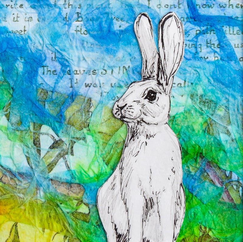 Biały królika rysunek na colourful błękitnej zieleni tle royalty ilustracja