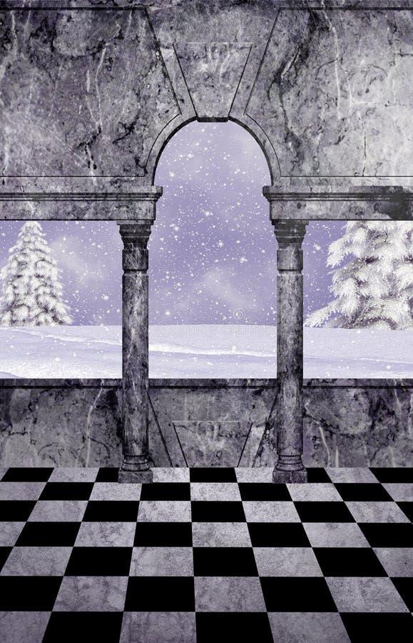 Biały kraina cudów balkon royalty ilustracja