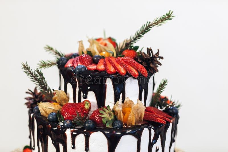 Biały Kremowy lodowacenie tort z owoc i czekoladą Poślubia nagiego tort na białym tle, boczny widok obrazy royalty free