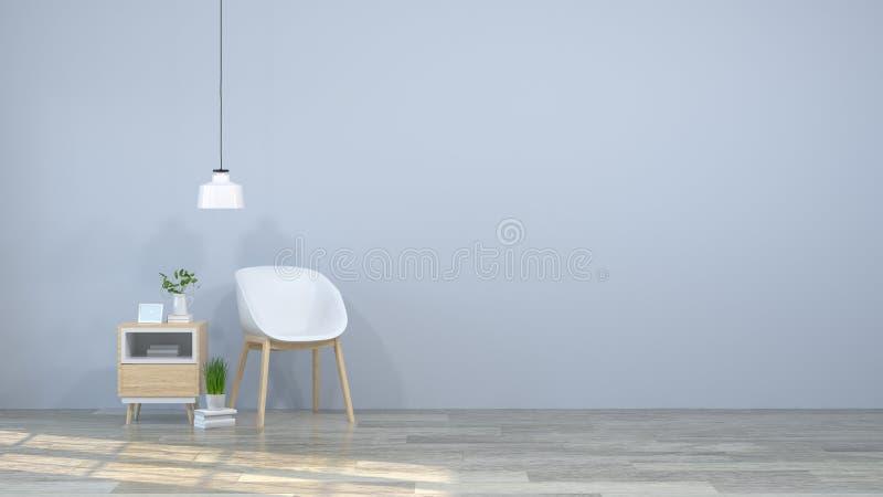 Biały krzesło odkłada i rezerwuje na biurku przed ściany ściany 3d pustymi ilustracyjnymi nowożytnymi domowymi projektami, tła dr ilustracji