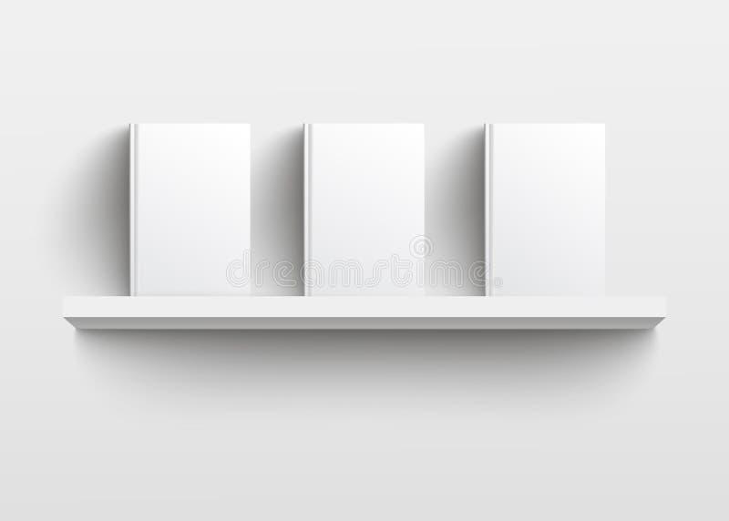 Biały książkowej półki mockup z trzy książkami, realistyczny pusty szablonu projekt z pustymi ciężkimi pokrywami stawia czoło prz ilustracja wektor