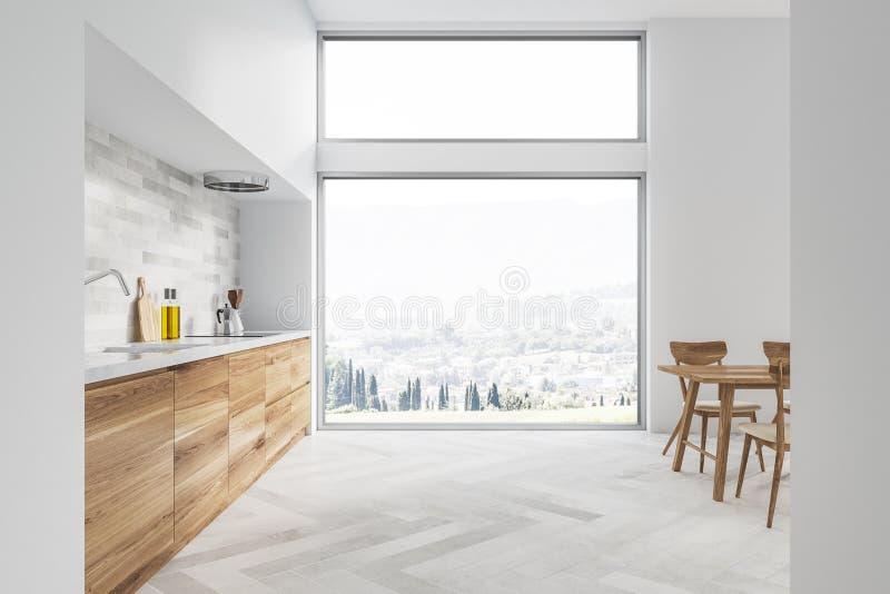 Biały kuchni i jadalni wnętrze, okno ilustracji