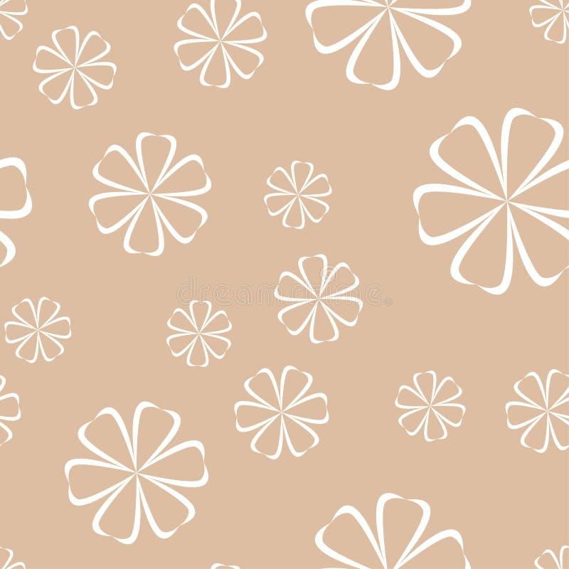 Biały kwiecisty bezszwowy wzór na beżowym tle ilustracji