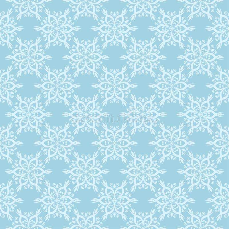 Biały kwiecisty ornament na błękicie bezszwowy wzoru ilustracji
