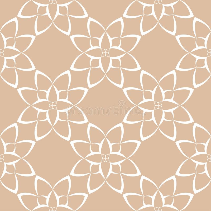 Biały kwiecisty ornament na beżowym tle bezszwowy wzoru ilustracji