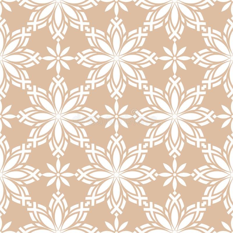 Biały kwiecisty ornament na beżowym tle bezszwowy wzoru royalty ilustracja