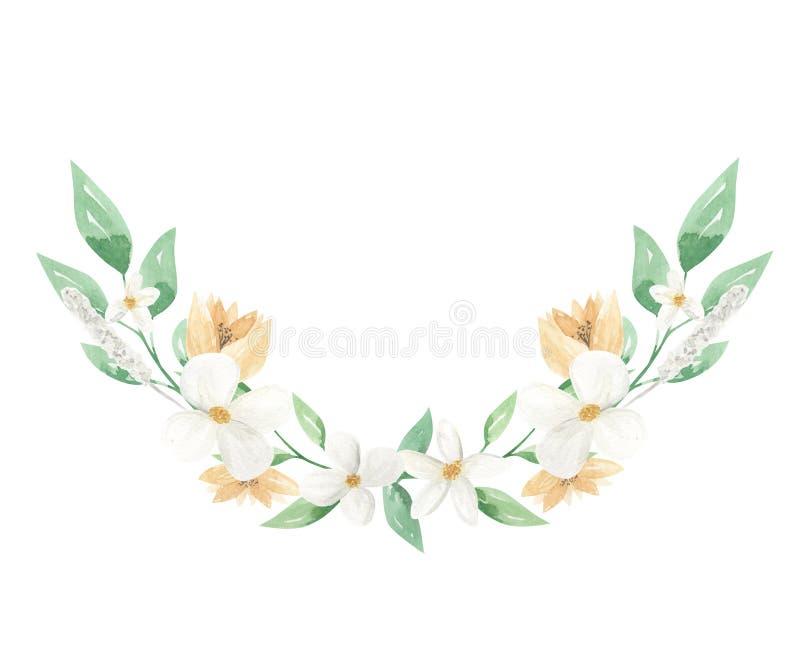 Biały Kwiecisty Zielony liścia bukieta Kwiecistego liścia przygotowania łuk royalty ilustracja