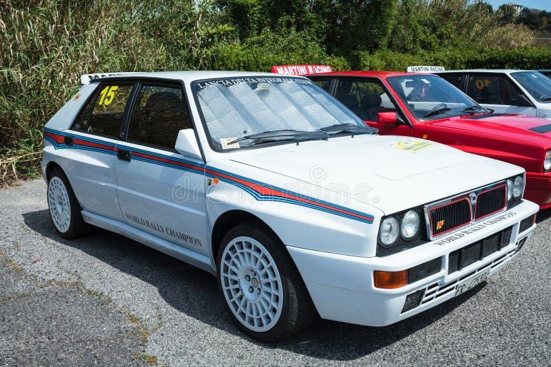 Biały Lancia delty wiecu samochód obrazy stock