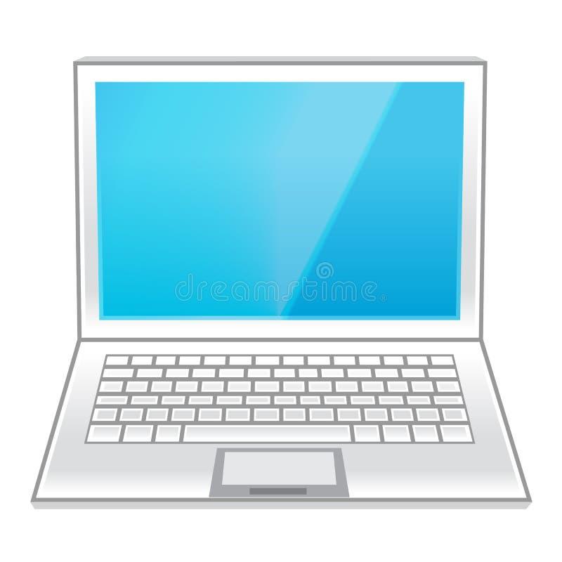 Biały laptop odizolowywający na bielu ilustracja wektor