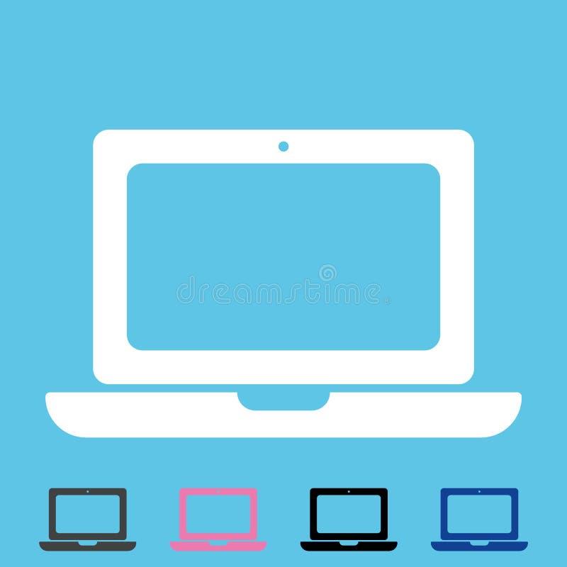Biały laptopu mieszkania stylu ikony wektor eps10 Notatnika lub laptopu ikona dla sieć desing setu na błękitnym tle royalty ilustracja