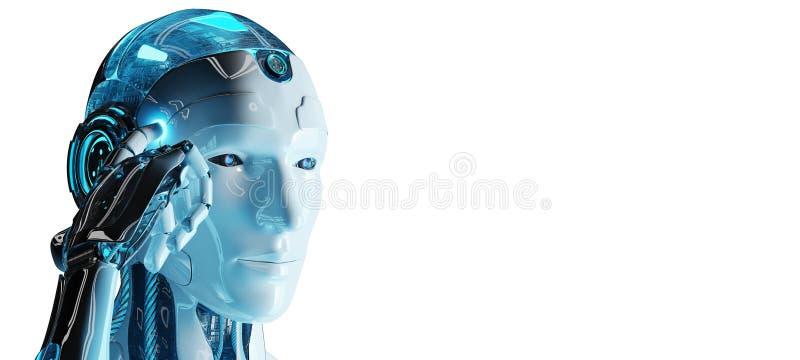 Biały męski cyborga macanie i główkowanie jego przewodzimy 3D rendering ilustracji