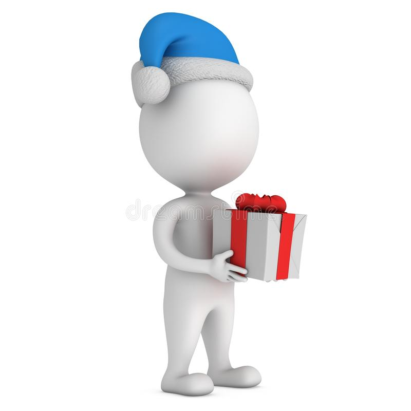 Biały mały mężczyzna w Santa Claus nakrętki stojaku z prezentem ilustracja wektor