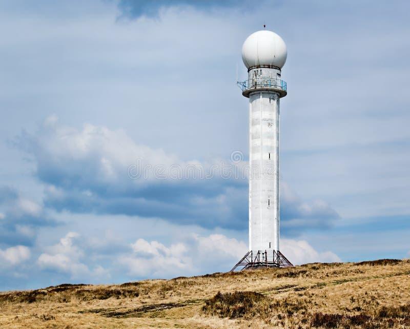 Biały Meteorologiczny radar zdjęcia royalty free
