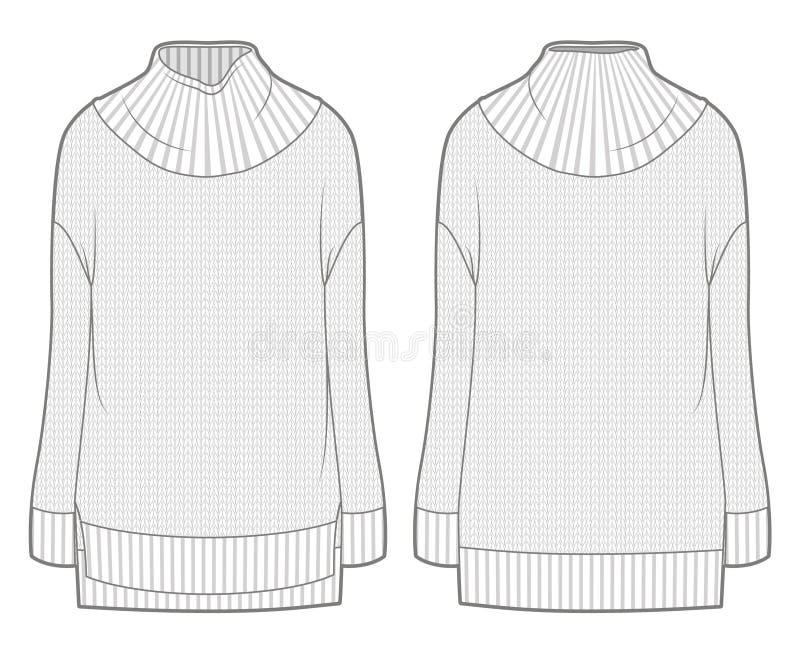 Biały miechowaty trykotowy pulower royalty ilustracja