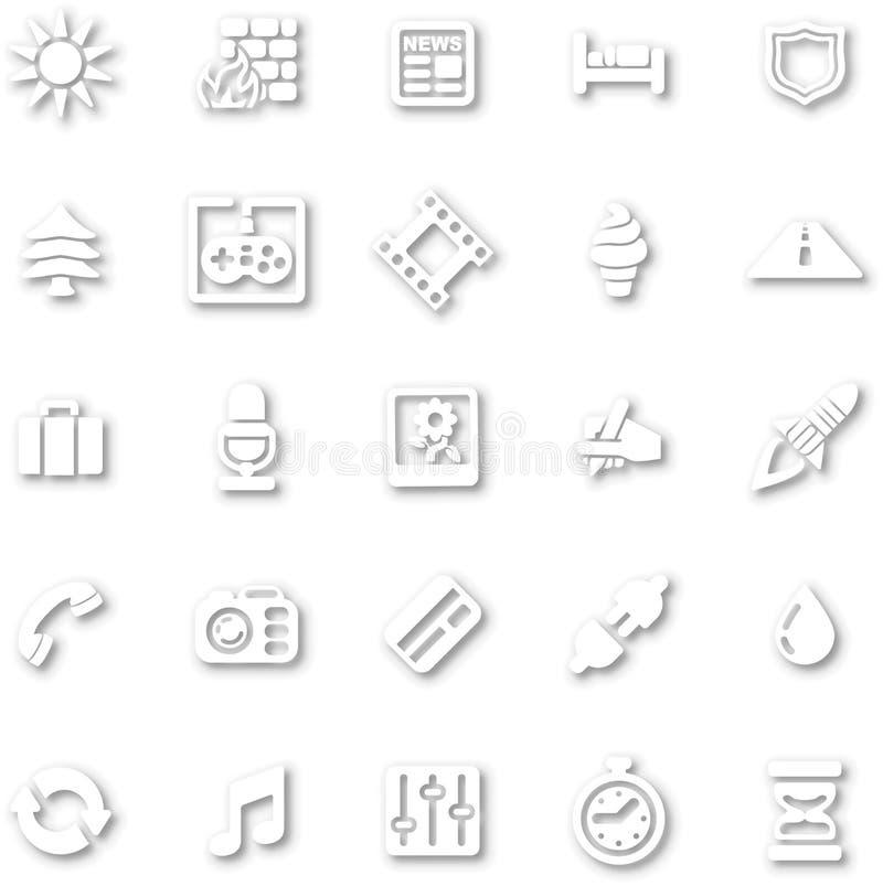 Biały minimalistyczny ikona set ilustracji