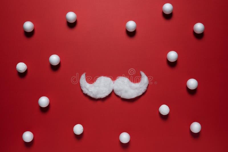 Biały modnisia wąsy Święty Mikołaj na czerwonym tle obraz stock