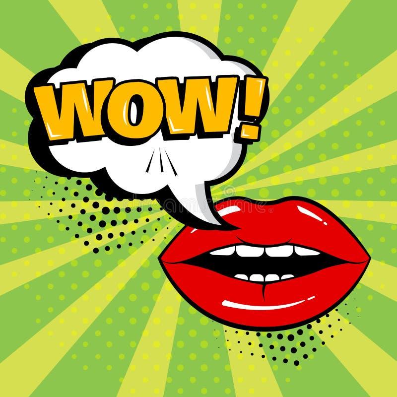 Biały mowa bąbel z no! no! czerwieni i słowa wargami na zielonym tle Karta w wystrzał sztuki stylu również zwrócić corel ilustrac ilustracji