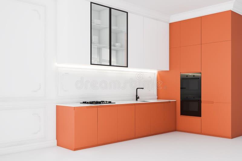 Biały narożnik kuchenny z pomarańczowymi kontrastami ilustracji