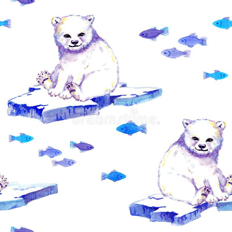 Biały niedźwiedź na lodowym floe z ryba Bezszwowy tło akwarela ilustracja wektor