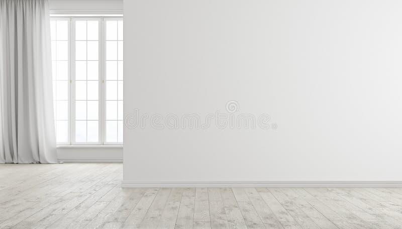 Biały nowożytny jaskrawy pusty izbowy wnętrze z okno, drewnianą podłoga i zasłoną, royalty ilustracja