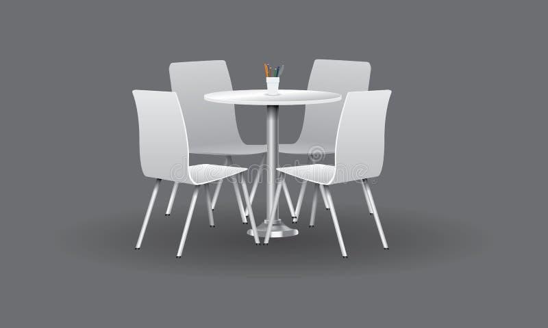 Biały Nowożytny round stół z krzesłami również zwrócić corel ilustracji wektora royalty ilustracja