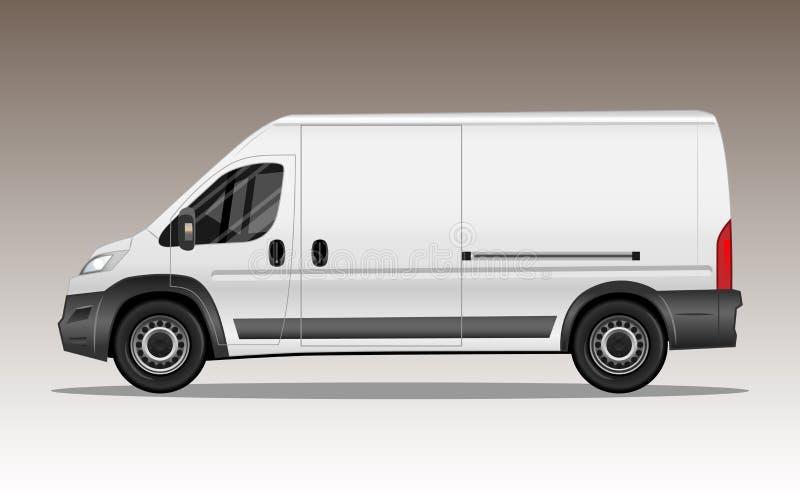 Biały nowożytny samochód dostawczy z pustą przestrzenią dla teksta lub loga ilustracji