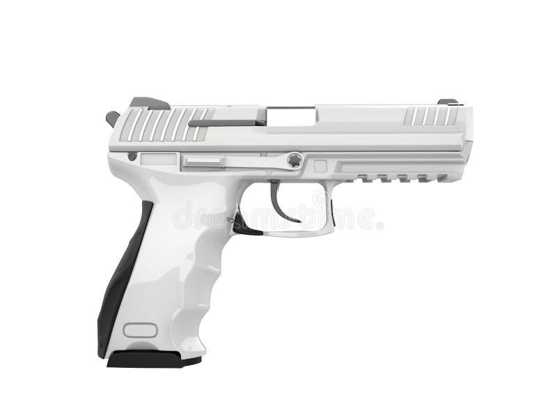 Biały nowożytny semi automatyczny pistolet - boczny widok royalty ilustracja