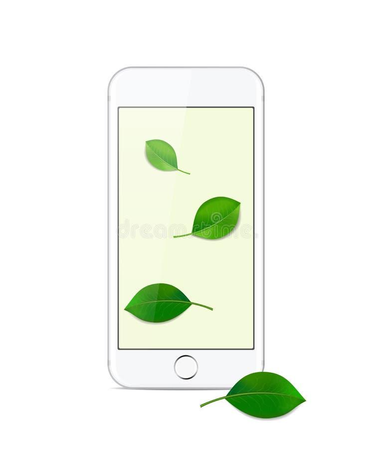 Biały nowożytny smartphone na białym tle zdjęcia royalty free