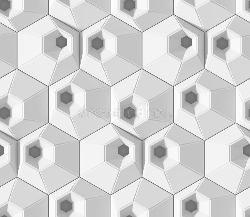 Biały ocieniony abstrakcjonistyczny geometryczny wzór Origami papieru styl 3D renderingu tło ilustracji