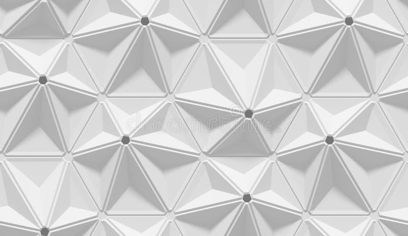 Biały ocieniony abstrakcjonistyczny geometryczny wzór Origami papieru styl 3D renderingu tło royalty ilustracja