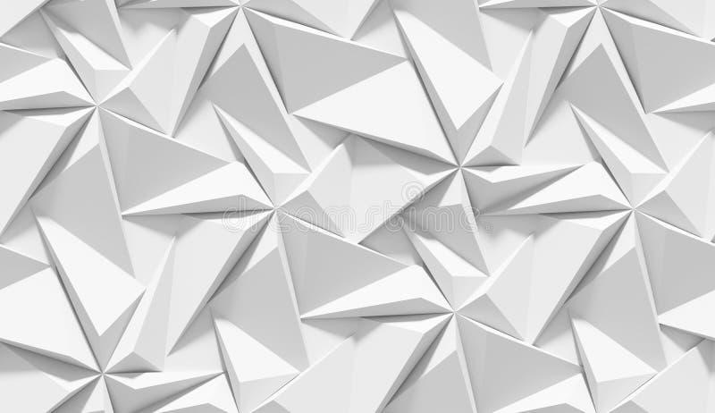 Biały ocieniony abstrakcjonistyczny geometryczny wzór Origami papieru styl 3D renderingu tło ilustracja wektor