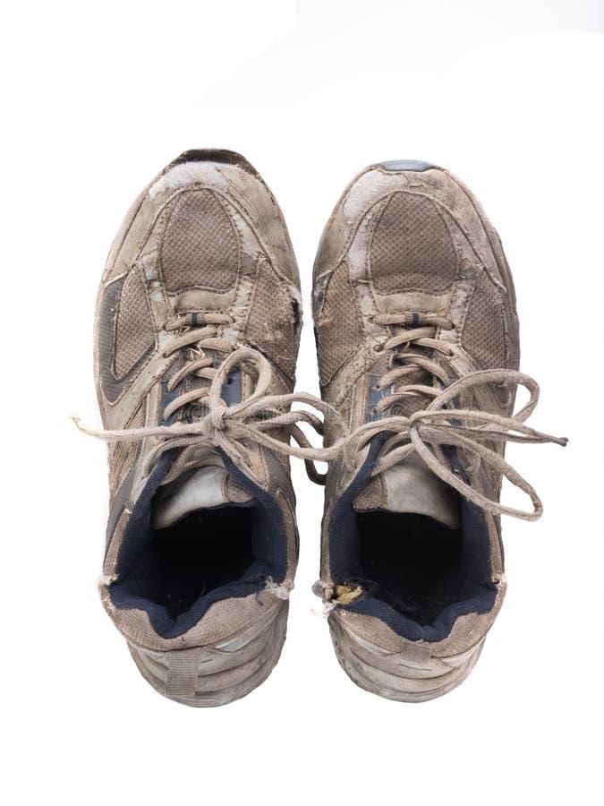 biały odosobneni starzy sneakers obraz stock