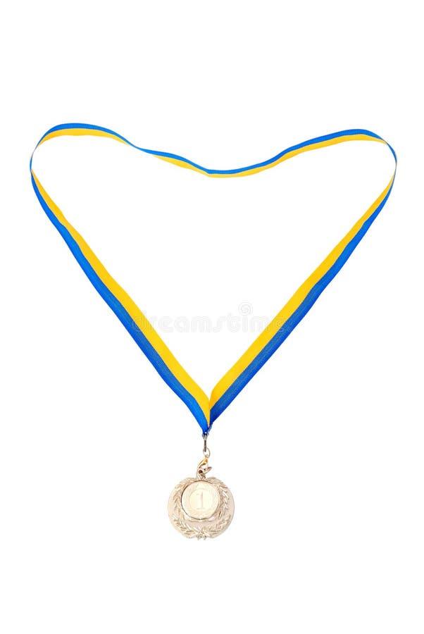 biały odosobneni złoto medale zdjęcie royalty free