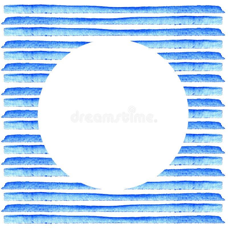 Biały okrąg na błękitnym lampasie malował w akwareli styl retro tło Elementu projekt dla plakatów, majchery, sztandary, invitati royalty ilustracja