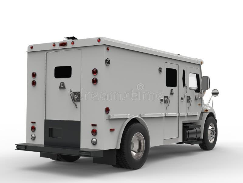 Biały opancerzony przewieziony samochód dostawczy - tylny widoku strzał ilustracji