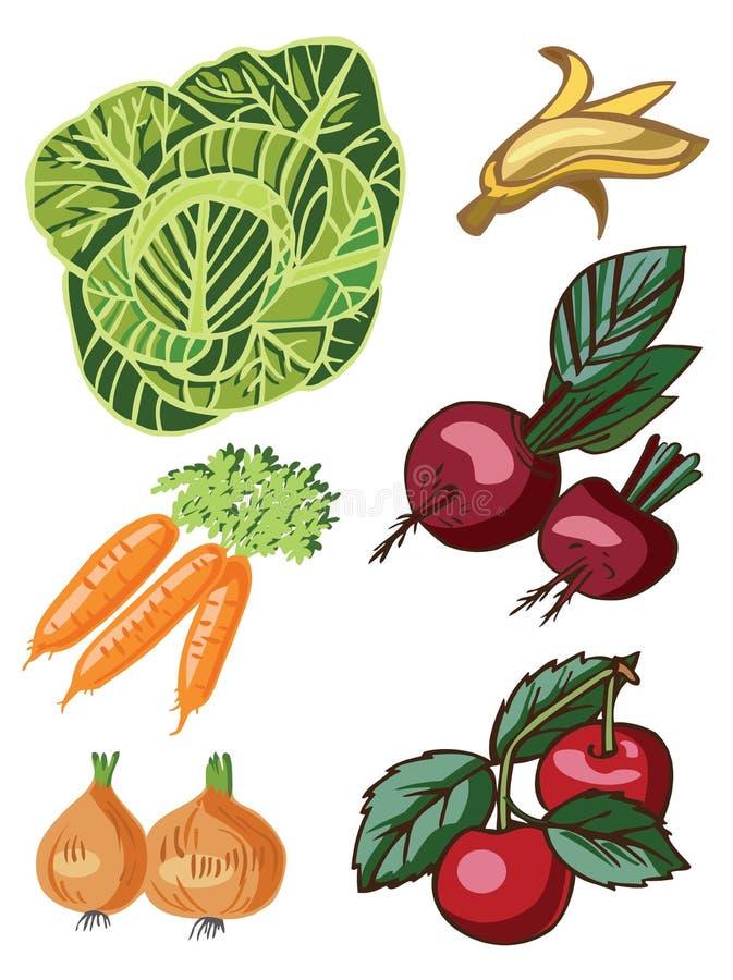 biały owoc warzywa ilustracja wektor