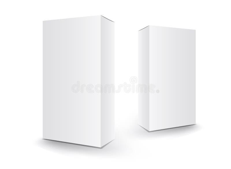 Biały pakunku pudełka wektor, pakunku projekt, 3d pudełko, produktu projekt, realistyczny pakować dla kosmetycznego lub medyc royalty ilustracja