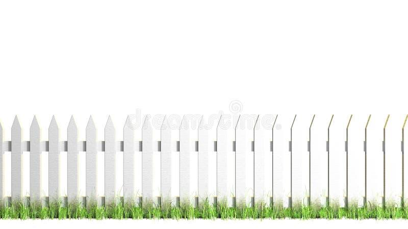 Biały palika ogrodzenie Odizolowywający zdjęcie stock