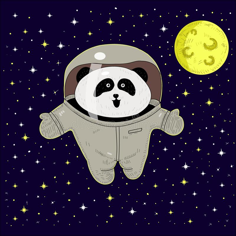 Biały panda astronauta w astronautycznym kostiumu Pionier przygody w przestrzeni royalty ilustracja