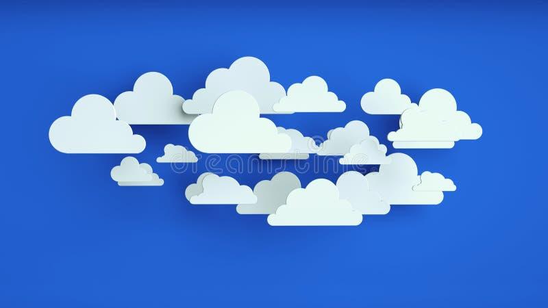 Biały papier chmurnieje nad błękitnym tłem ilustracji