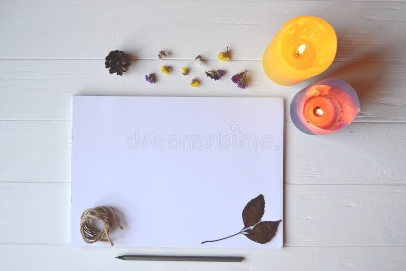 Biały papier i ołówek z dekoracją na białym drewnianym biurku, odgórny widok zdjęcie stock
