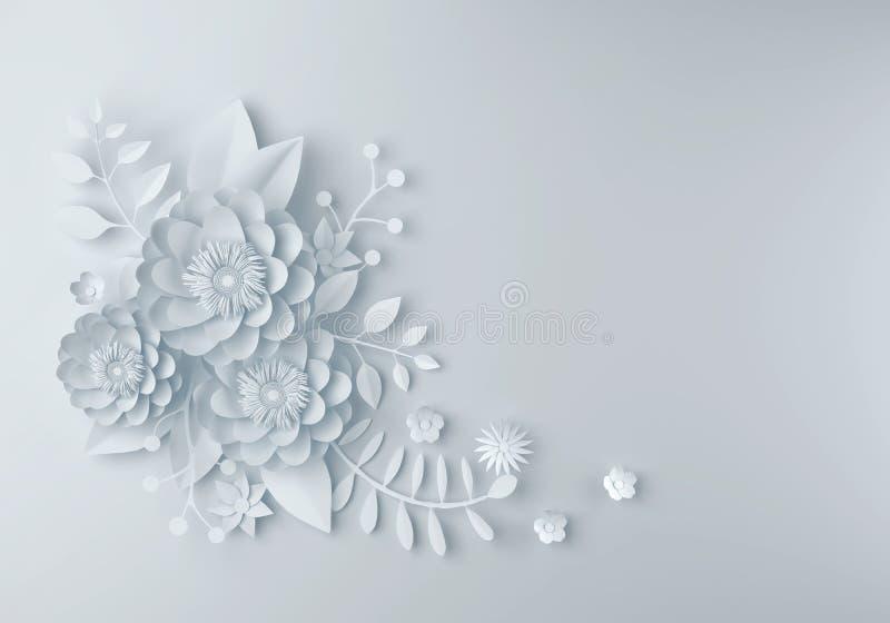 Biały papierowego kwiatu tapetowy tło, abstrakcjonistyczny kwiecisty backgro ilustracja wektor